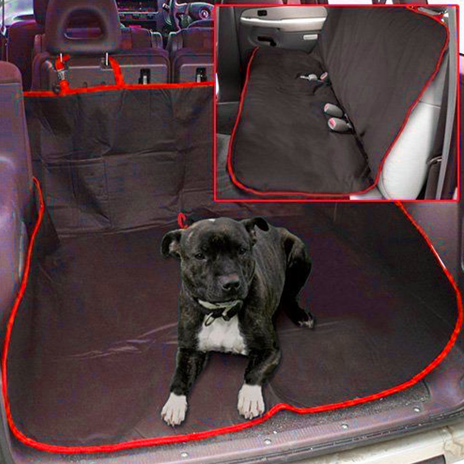 Red 2 In 1 Waterproof Car Rear Back Seat Cover Pet Dog
